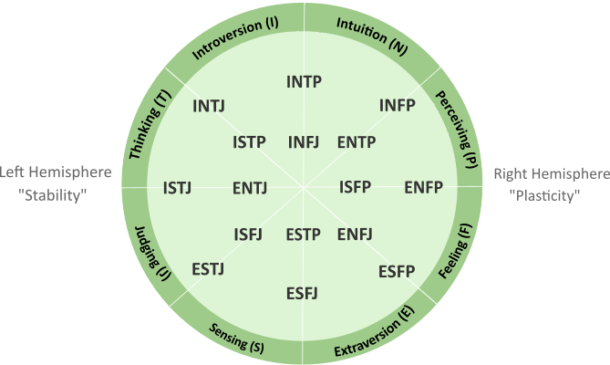 Myers-Briggs Preferences & Types Diagram