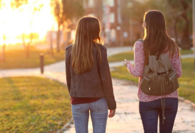 Introvert & Extravert Girls Walking